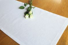 White linen table runner , wedding table runner, kitchen and dining tableware, home decor by WillowandDixon on Etsy