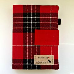 red plaid handmade fabric notebook cover