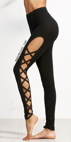 Black Cutout Lattice Detail High Waist Leggings