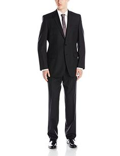 Calvin Klein Men's Malik Pinstriped Suit with Jacket and Flat-Front Pant