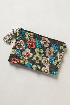 Dahlia Clutch #anthropologie: I could make this with a flower patterned fabric and adding touches with sequins and seed beads embroidery