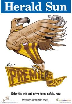 HAWTHORN has completed back-to-back premierships in remarkable fashion, belting the Sydney Swans by 63 points in the AFL Grand Final on Saturday. Australian Football League, Winter Sports, Football Team, Hawks, Club, Sports Teams, Microwave, Melbourne, Stitches