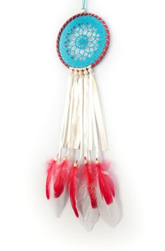 Dreamcatcher Blue Red Creame Dream Catcher by DreamcatchersUA