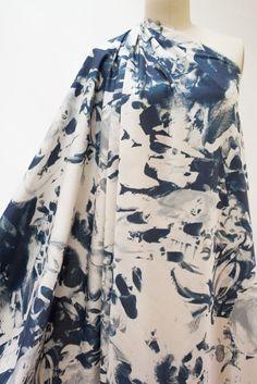 Cyan Floral Italian Stretch Cotton Woven