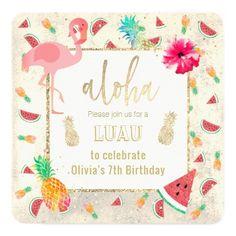 #summer luau beach birthday party card - #birthday #invitations