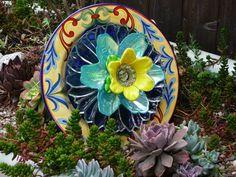 Drought Resistant Plate Flower. #190.            Garden Yard Art glass and ceramic plate flower