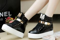 Stylish Only want you -Sneakers Flat Heel Sneakers (black,white)