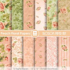 Floral Digital Paper Peach Digital Paper Pack by blossompaperart