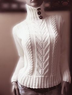Pilland - lovely off White merino extrafine sporty sweater with buttoned collar cables and lace pattern - plain stocking stitch back - would change to round collar for my short neck! Knitting Designs, Knitting Patterns, Baby Sweaters, Sweaters For Women, Crochet Poncho, Lace Patterns, Knit Fashion, Hand Knitting, Knitwear