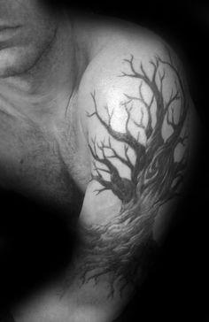 60 Family Tree Tattoo Designs For Men - Kinship Ink Ideas Tree Tattoo Arm, Forearm Tattoos, Life Tattoos, Tattoos For Guys, Tree Tattoo Designs, Tattoo Ideas, Back Of Shoulder Tattoo, Body Art, Oak Tree