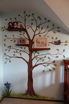 Hand Painted Nursery Murals Room Mural With Carved Wooden Shelving