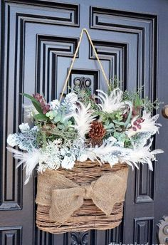 """Winter """"Wreath"""" for After Christmas DIY ~ Front Door Decor. Winter Home Decor, Winter House, Winter Porch, Winter Craft, After Christmas, Noel Christmas, Cottage Christmas, Outdoor Christmas, Natural Christmas"""