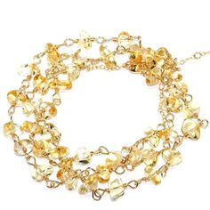 """Amazon.com: Handmade 14-kt Gold Filled Brass Necklace or Three Strand Bracelet with Citrin Chip, 24"""": Clothing"""
