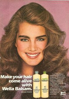 Brooke in an ad for Wella Balsam Shampoo, 1981.