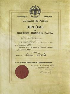 certificate of honorary doctorate from the university of poitiers nikola tesla physicist viktor