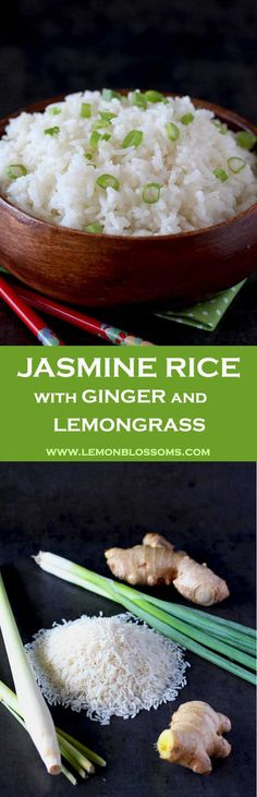 This Jasmine Rice is light, fluffy and aromatic. Infused with the warmth of ginger and the bright citrus flavors of lemongrass.The perfect accompaniment for Asian inspired dishes. Plus my secrets for making the perfect fluffiest rice! via @lmnblossoms