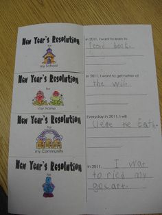 New Year's Resolution flip book New Years Activities, Winter Activities, Writing Activities, New Years Eve Day, School Days, School Stuff, School Fun, New Year's Crafts, Library Lessons