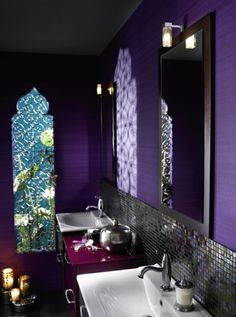 Love, love, love this bathroom! There are other great jewel-toned decorating ideas on this page too.