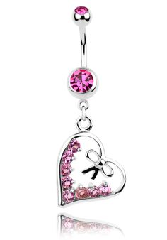 Heart Dangling Steel Belly Ring with Multiple Pink CZ Gems and Bow