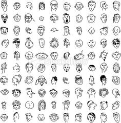 on a lark i made 100 cartoon faces drawn in illustrator http www