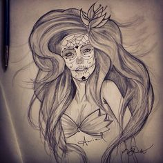Day of the Dead Ariel tattoo sketch by joepavo
