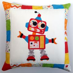 $55 Marvin the Robot applique cushion by TwoLittleMonkeys on Handmade Australia