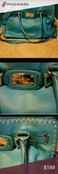 Beautiful Michael Kors Hamilton Teal Pebbled leather No signs of wear Excellent condition! Michael Kors Bags