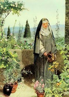 Fortescue-Brickdale, Eleanor (b,1871)- Nun Watering Garden