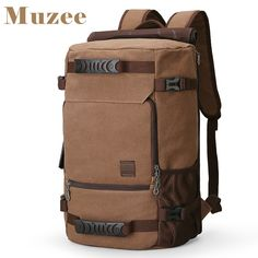 MUZEE New Backpack Men Canvas Backpack Large Capacity Bag for Travel  Backpack 15.6inch Laptop Backpack ce3ee7c98956f