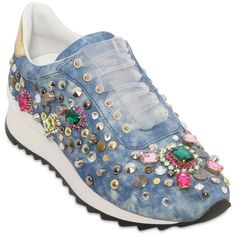 CASADEI Limit.Ed Embellished Denim Sneakers ($1,014) ❤ liked on Polyvore featuring shoes, sneakers, denim sneakers, decorating shoes, denim shoes, decorated pointe shoes и rubber sole sneakers