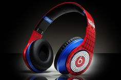 Monster Beats By Dr Dre Studio with Diamond Spiderman Headphones Monster Headphones, Dre Headphones, Studio Headphones, Beats Solo, Music Beats, Beats By Dr Dre, Cheap Beats, In Ear Buds, Spiderman
