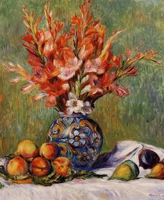 Flowers and Fruit - 1889. Pierre-Auguste Renoir. Download painting.