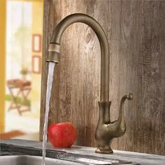 Antique Brass Finish One Hole One Handle Cold and Hot Water Rotatable Kitchen Ta modern-kitchen-taps