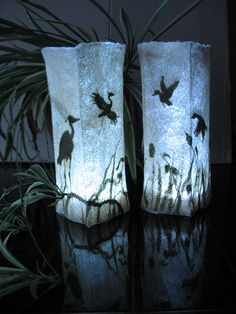 Felted lamps 'Warm lakes' by Little WoolHouse http://www.flickr.com/photos/littlewoolhouse/6194595275/in/set-72157627779675982/