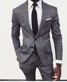 Buy it before it ends. There is always many products on sae upto - Two Buttons Tweed Men Slim Fit Suits Grey Notch Lapel Groomsmen Tuxedos Men Wedding Suits formal costumes men (jacket+pant) - eTrendings Terno Slim Fit, Slim Fit Suits, Tailored Suits, Fashion Mode, Suit Fashion, Fashion Clothes, Black Mens Fashion Suits, Style Fashion, Fashion Check