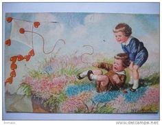 Cerf Volant Kite Enfant Surrealisme Cerf Volant En Envelope Et Coeur Ill. Fialkowska  - Jeux Et Jouets