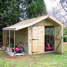 Pressure Treated Apex Shed 120 - Rustic Board, Log Store Garden Bar Shed, Garden Storage Shed, Outdoor Storage Sheds, Shed Building Plans, Shed Plans, Garden Buildings, Garden Structures, Shed With Log Store, Patio