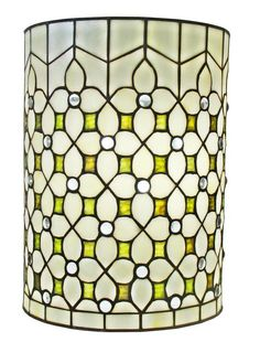 Warm light is punctuated with soft green and white jewels in this elaborate wall lamp. This piece is handcrafted using the same techniques that were developed by Louis Comfort Tiffany in the early 1900s. Tiffany Style  Wall Sconce Lamp 10 In Wide by Rustica House. #myRustica