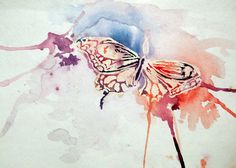 painted butterfly: [use wax and watercolor]