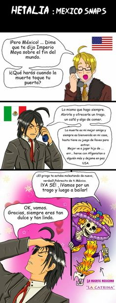 Hetalia Mexico and death espagnol by chaos-dark-lord on DeviantArt Love You Sis, Told You So, Hetalia America, Humor Mexicano, Mundo Comic, Dark Lord, End Of The World, Dankest Memes, World War