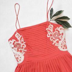 Parker Coral Dress 100% silk coral pleated dress. In EUC. Parker Dresses