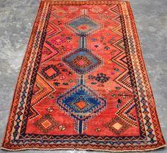"Semi Antq Persian Shiraz QASHGHAI 4'X6'.8"" Handknotted Rug 100%wool PK2791 #Persian"