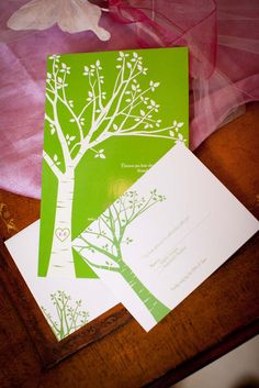 Whimsical DIY Wedding: Birch tree invitations,ceremony programs, guest book, and escort cards.