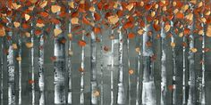Abstract Birch Trees Grey Copper Orange Landscape Aspen Modern Art Giclee Canvas PRINT Home Decor Wall Art Large Contemporary Art by Susanna by ModernHouseArt on Etsy https://www.etsy.com/listing/265115774/abstract-birch-trees-grey-copper-orange