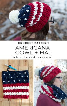 This chunky crochet American hat and cowl set works up quick with silky smooth Mighty Stitch Super Bulky. It creates a drapey, cozy set perfect for chilly winter days. Not a fan of red? Make this pretty set in your favorite color combo! The knit stitch and stripes go perfectly with any color palette you choose. #ad #freecrochetpattern #americancrochetpattern
