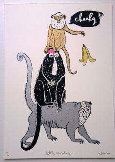 Cheeky Little Monkeys! We love this hand pulled screen print by the talented Charlotte Farmer. Lion Book, Year Of The Monkey, Animal Books, Little Monkeys, Happy Animals, Graphic Illustration, Screen Printing, Art Prints, Drawings
