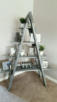 50 ideas farmhouse table shanty 2 chic restoration hardware Visualizing Your Ladder Shelf Decor, Diy Ladder, Wooden Ladder Decor, A Frame Ladder, Plant Ladder, Ladder Display, Ladder Bookshelf, Wall Table Diy, Wood Table