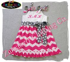 Custom Boutique Girl Clothing Spring Pageant Easter Baby Birthday Chevron Outfit Gift Dress Set 3 6 9 12 18 24 MONTH SIZE 2T 3T 4T 5T 6 7 8 by ZamakerrClothingCo on Etsy https://www.etsy.com/listing/126489808/custom-boutique-girl-clothing-spring