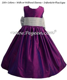 Flower Girl Dress in Boysenberry and Platinum Gray - Pegeen Style 398
