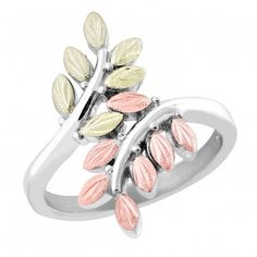 Tri-color Black Hills Gold on Sterling Silver Ladies Bypass Ring